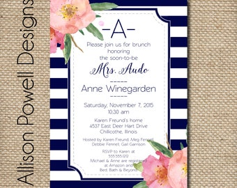 Stripe and Flowers, Navy, Black and White,  Modern Bridal Shower, Bridal Luncheon, Spring, Summer Invitations - Print your own