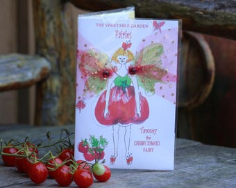 FAIRY BIRTHDAY CARD, Gardening kit with Cherry Tomato seeds fairy garden card fairy birthday card party favor gift for girls