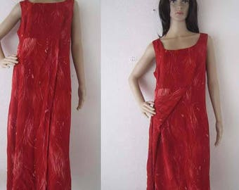 Vintage 80s chiffon dress dress robe dress Red dress m/L