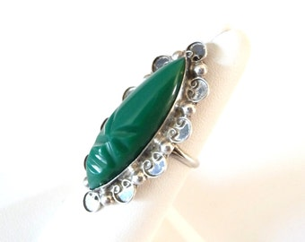 Large Green Onyx Carved Stone Ring 925 Sterling Silver Ring Size 7 from TreasuresOfGrace