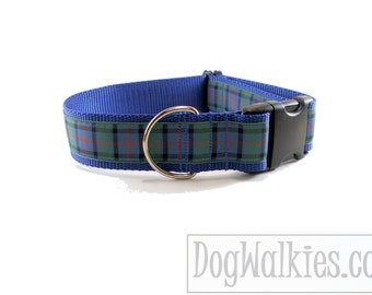 """Flower of Scotland Tartan Dog Collar- 1.5"""" (38mm) Wide - Martingale or Quick Release - Choice of collar style and size - Green Plaid"""
