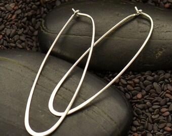 Silver Elongated Hoop Earrings. 925 Silver. Item 265.