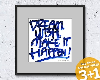 NEW YORK QUOTE #02, Make It Happen, Color Ink, Handwritten, Instant Download, Ready for Printing, Home Decor, Wall Art, Resizable & Reusable