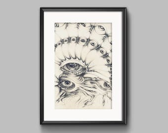 The All Seeing Eye - A3 Print - Surreal Pencil Print, Abstract Pencil Print, Surreal Wall Art, Eagle Pencil Drawing, Surreal Eyes