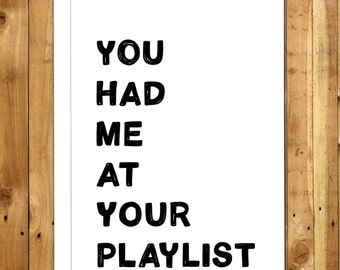 Valentine's Card. Valentines Day Card. Love Card. Anniversary Card. Music. You Had Me At Your Playlist 031