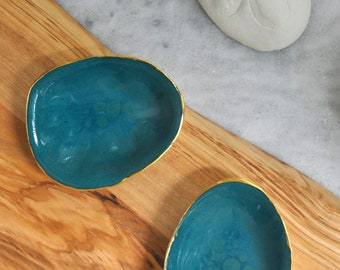 Teal Sand Dollar Trinket Dish - Blue Gold Ring Dish, Salt Dish, Small Ceramic Bowl, Gift for her,  Foodie Gift, Mom Gift