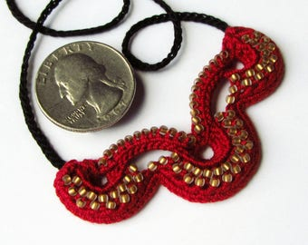 Beaded Crochet Necklace Irish Crochet Necklace Crochet Jewelry Beaded Jewelry Beaded Necklace Handmade Necklace Statement Necklace Red Gold