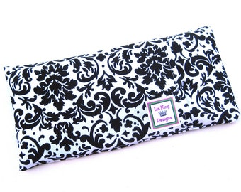 Microwavable Heating Pad, Aromatherapy Heating Pad, Hot Cold Therapy, Heat pack, Removable Cover, Black and white damask fabric