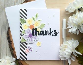 Flower Thank You Card, Handmade Card, Greeting Card, Thank You Cards, Thanks Card, 3D Card, Friend Card, Appreciation Card, Thanks Mom