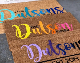 Ombre doormat, mulit-colored doormat