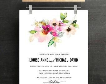 Wedding Invitation Set, Bridal Invitation, RSVP, Wedding, Modern, Floral, blush, Sage, Printable, DIY