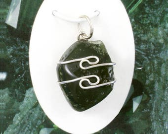 One Moldavite Wire Wrap Pendant! Polished! From Czech! Meteorite! .925 Sterling Silver! Synergy 12! Guarantee Card Available!
