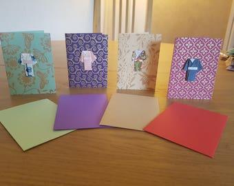 Set of 4 Origami Kimono Greetings Cards