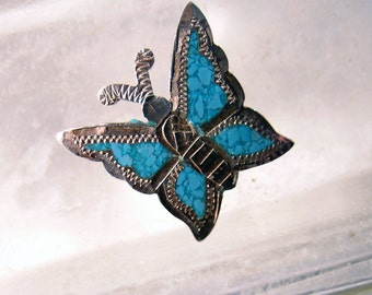 Sterling Silver Butterfly  Brooch Pin Mexico Turquoise 70s