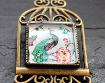 square Peacock bird brooch