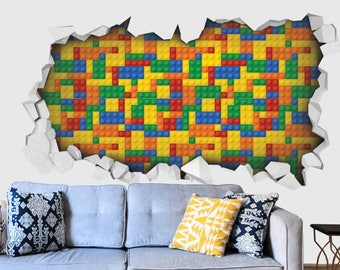 Three Dimensional Wall Sticker Of A Hole With A Wall Of A Colorful Lego  Cubes