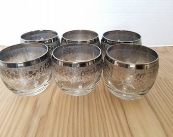 Thorpe Platinum Ombre Roly Poly, Set of 6, Glitter Grapes, Vintage Barware, Mad Men, Silver Barware, MCM, Queen Vitreon Lusterware, 1960s