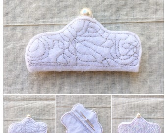 Fluffy White Cloud hand-stitched needle case