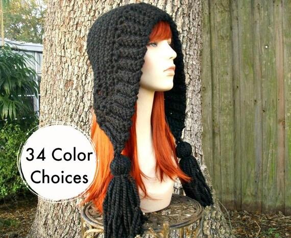 Black Crochet Hat Women Hat Crochet Hood Hat Black Tassel Hat Black Ear Flap Hat - Black Hat Black Hood Winter Hat - 34 Color Choices