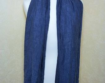 Blue woollen scarf crinkle cotton jersey liserai mixed Bumblebee