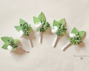 Wedding Boutonniere Grooms Button hole Rustic Groomsman Boutonniere Wedding Boutonniere Green Wedding boutonniere Succulent Boutonniere