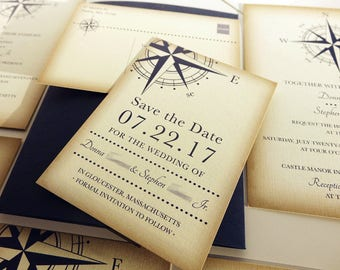 Reserve for Celeste Rabedeau, Balance of Compass Wedding Save the Date Postcards