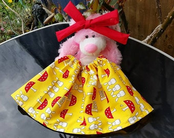 Rabbits and Toadstools cotton skirt with contrasting knotted head band newborn to 3 months