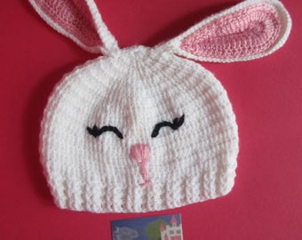 Easter Bunny Hat for baby girl, White Bunny Hat, Baby Easter Hat, Crochet Bunny Hat, Baby Giel Bunny Hat, Bunny Ears Hat, Bunny Rabbit Hat,