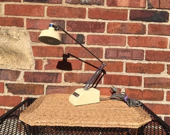 Vintage Cream Desk Lamp Transformer Powered, Mid-Century Modern Light, Mad Men Inspired