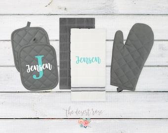 Personalized Kitchen Towels | Personalized Wedding Gift | Monogramed Kitchen Towels | Personal Bridal Gift | Newlywed Kitchen Set