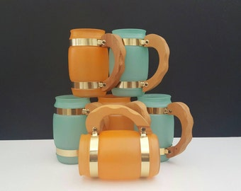 Vintage Siesta Ware Mugs Frosted Barrel Shape with Wood Handle Green and Orange Mid Century Set of 6