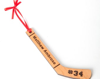 Hockey Stick Christmas Ornament - Personalized Engraved Christmas Ornament and Gift. Hockey Fan ornament Solid Wood Baby's First Christmas