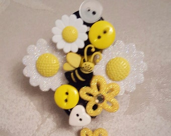Furry Bumble Bee Button Badge