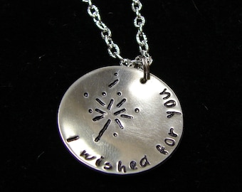 Hand Stamped I wished for you dandelion necklace