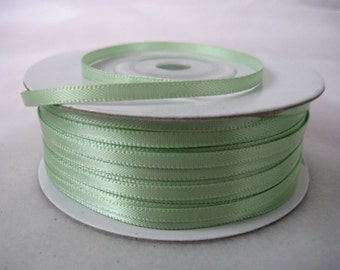 "1/8 "" Mint Green Satin Ribbon for Crafting, Tags, Baby Shower, Party Favor, Sewing, 3 mm, 100 yards"