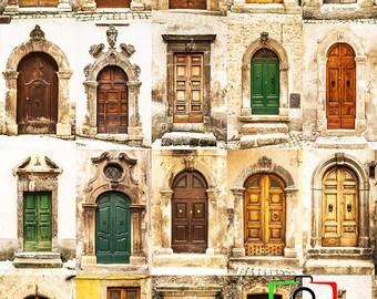 Collage of Italian Doors, photography, Picture, Italy, Italian Doors, Art Decor