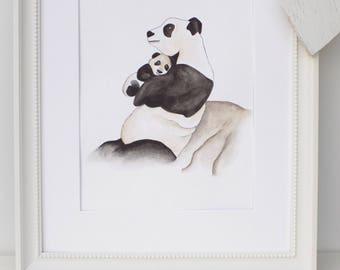 UNFRAMED mummy and baby panda