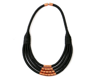 Black Statement Necklace For Women, Modern Copper Bib Necklace, Womens Rope Necklace, Unique Gift For Her