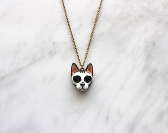Day of the dead  , Mori Skull Cat Necklace , Día de Muertos