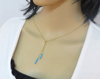 Dainty turquoise necklace, Beaded lariat necklace, gold and turquoise necklace