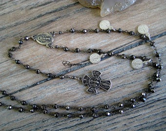 Artisan Handcrafted Black silver Rosary Necklace-St Benedict charm necklace Rosary-San Benito Rosary-Holy Trinity 4 way cross necklace