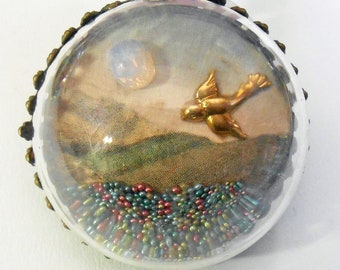 Vintage Postcard Swallow Bird  Diorama Pendant OOAK Antique Water Globe