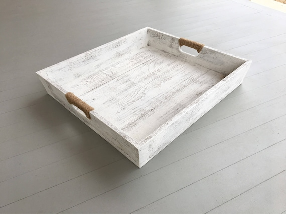 Large Wooden Distressed Tray in White |Wooden Serving Tray | Ottoman Tray with Twine Handles