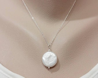 White Freshwater Coin Pearl Necklace - 17mm Coin, Genuine Pearl, Large Coin Pearl Necklace, Mom Jewelry, Sterling Silver