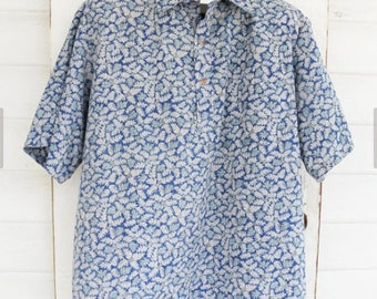 Vintage Hawaiian Surfer Shirt Blue and Turquoise Small Leaf Pattern Men Sz XL