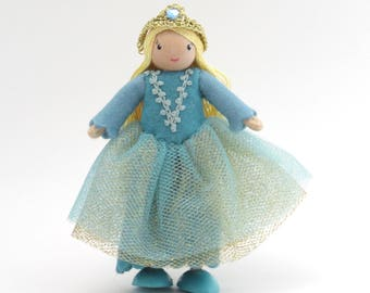 Princess doll, miniature doll, blue princess, playhouse doll, little doll, bendy princess, girl doll, fairy tale doll, mini princess