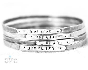 Stackable Personalized Bangle Bracelets, Custom Personalize Names, Words, Quote, Inspirational Jewelry, Nameplate Bangle, Christina Guenther