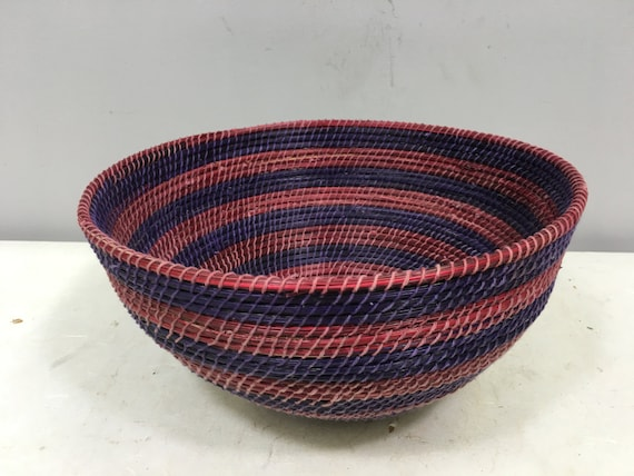 Basket African Lesotho Purple Red Woven South Africa Handmade Hand Woven Coiled Woman Unique SM30
