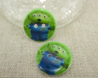 Set of 5 resin alien buttons