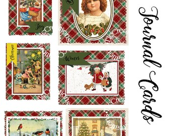 Plaid Christmas Vintage Printable Journaling Cards